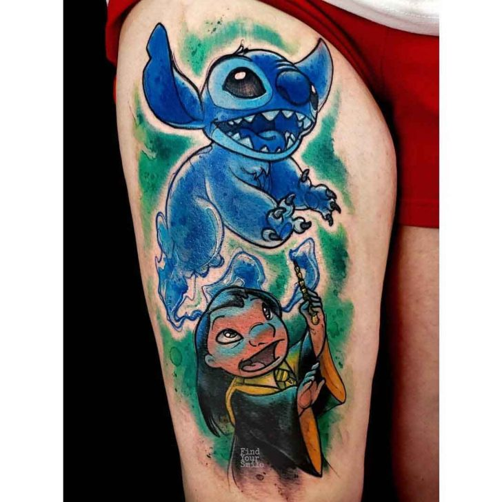lilo and stitch meets Harry potter tattoo on thigh