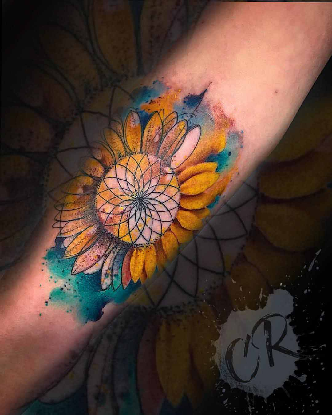 arm tattoo flower watercolor style