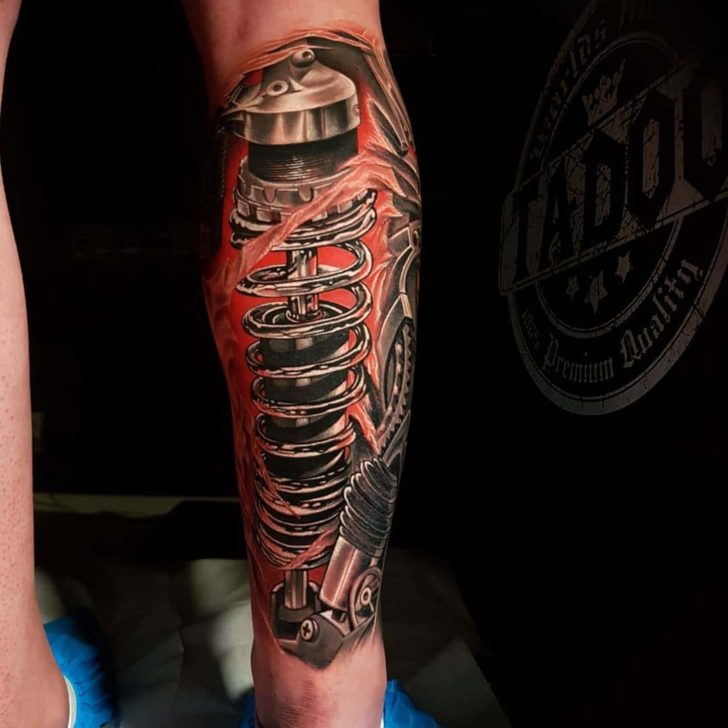 Piston Tattoo on Calf