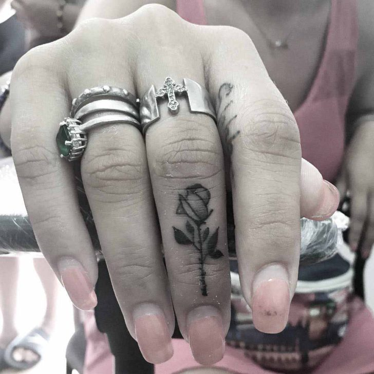 Rose Tattoo on Finger