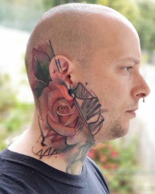 Rose Tattoo on Side of Head