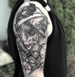 Sea Captain Tattoo on Shoulder