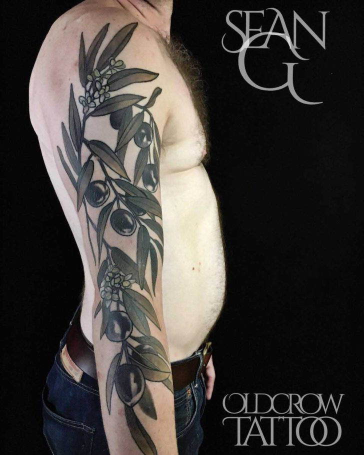 Shoulder Sleeve Olive Branch Tattoo