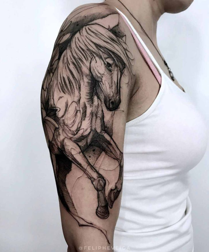 horse tattoo on shoulder
