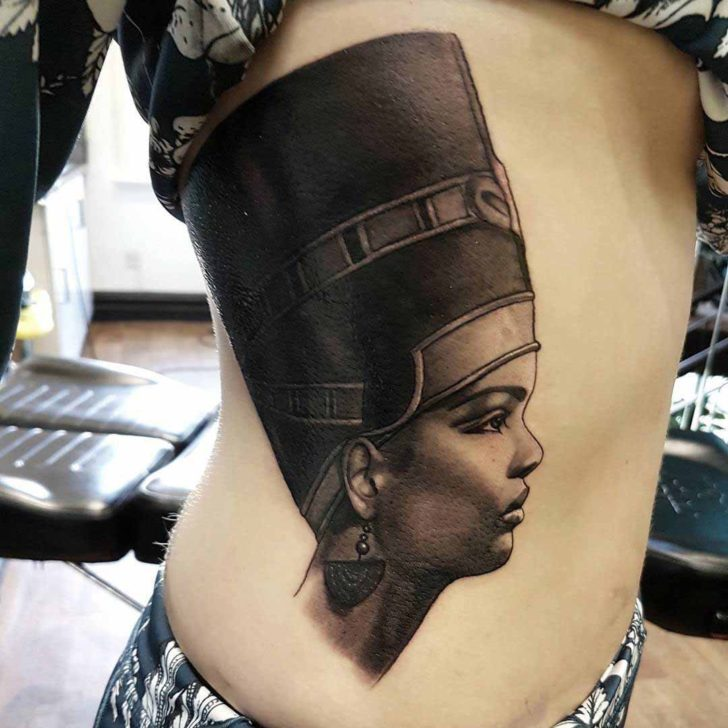 Side of Stomach Nefertiti Tattoo