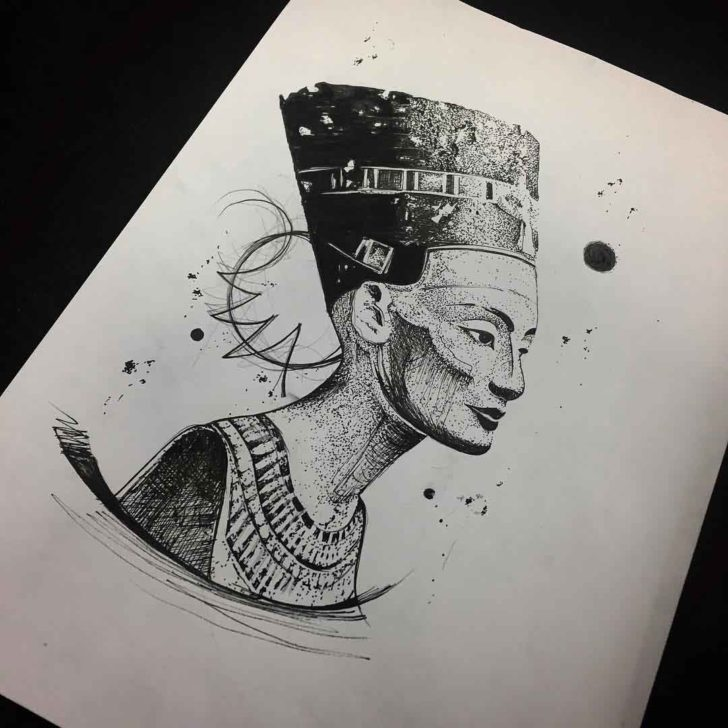 Sketchy Nefertiti Tattoo Design