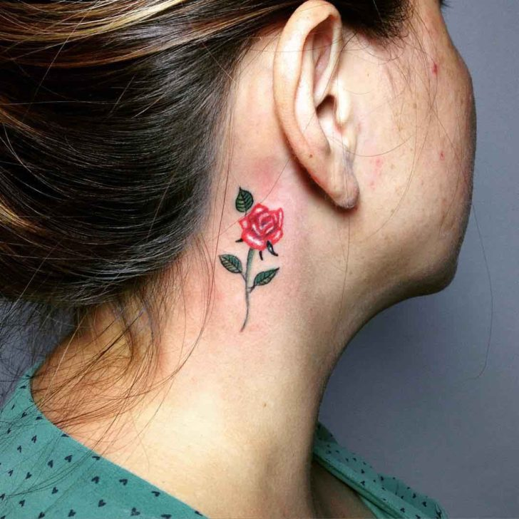 Small Rose Tattoo Near Ear