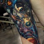 Space Tattoo on Leg