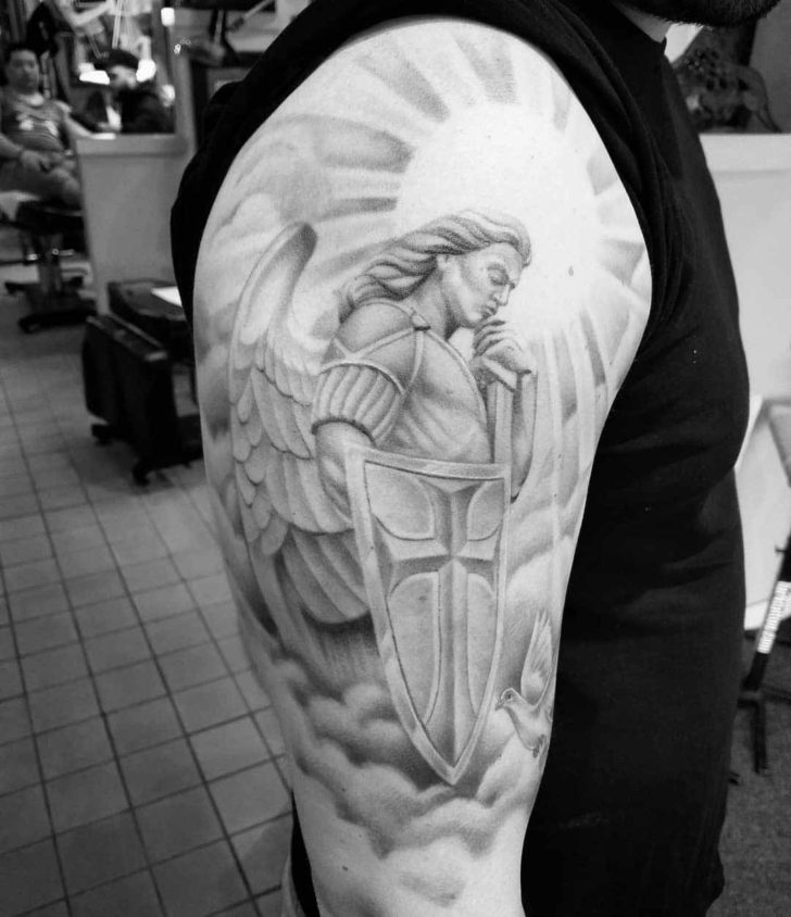 St. Micahel Tattoo With Shield