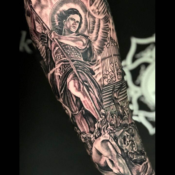 St. Micahel Tattoo on Arm