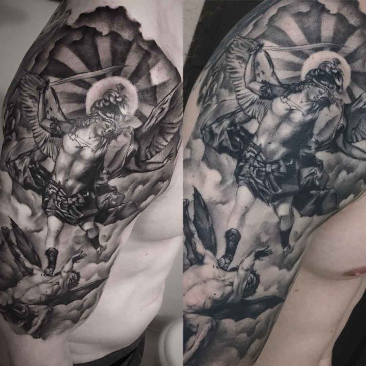 St. Micahel Tattoo on Shoulder