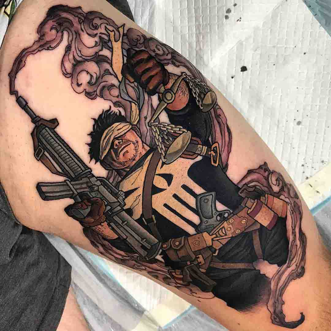 Punisher tattoo on thigh
