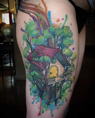 Tree House Tattoo on Thigh