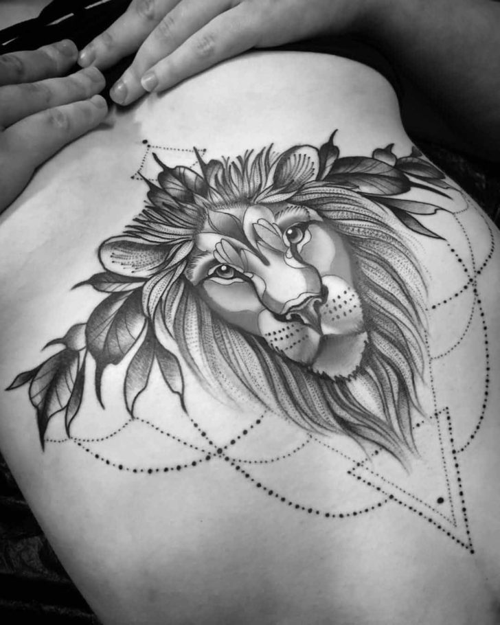 Under Breast Tattoo Lion