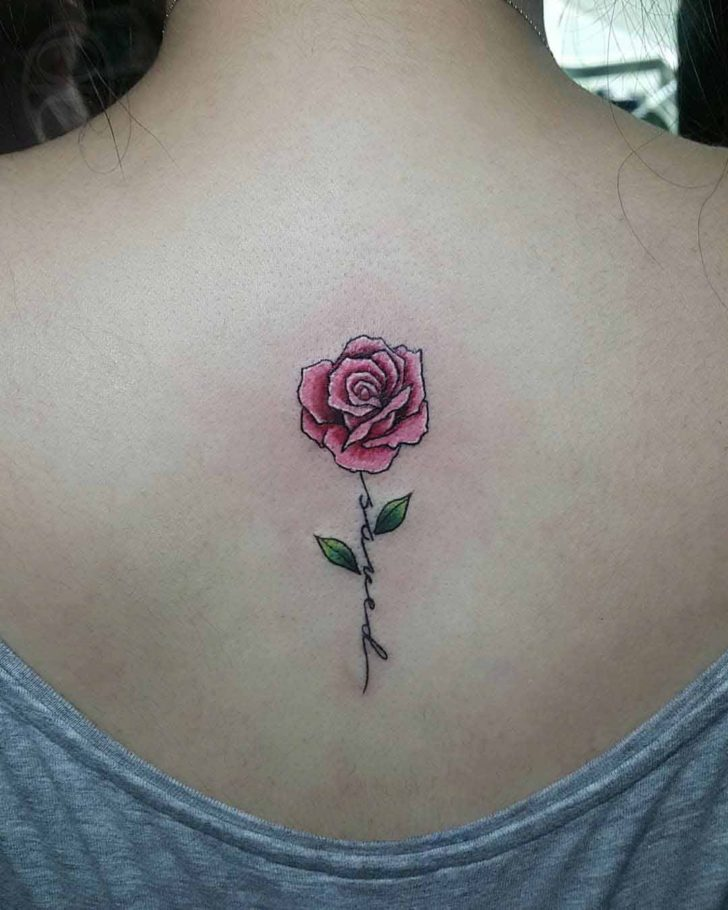 Upper Back Small Rose Tattoo