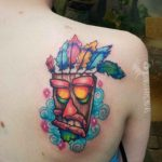 Aku Aku Mask Tattoo on Shoulder Blade