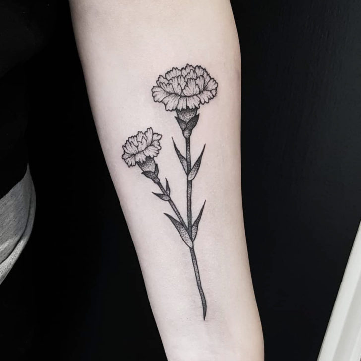 Arm Tattoo Carnation Flower