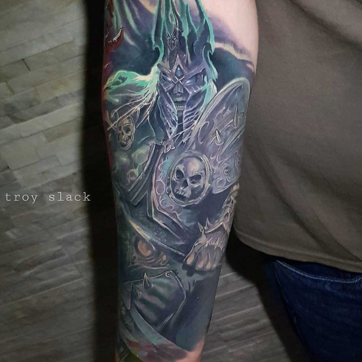 forearm tattoo arthas world of warcraft