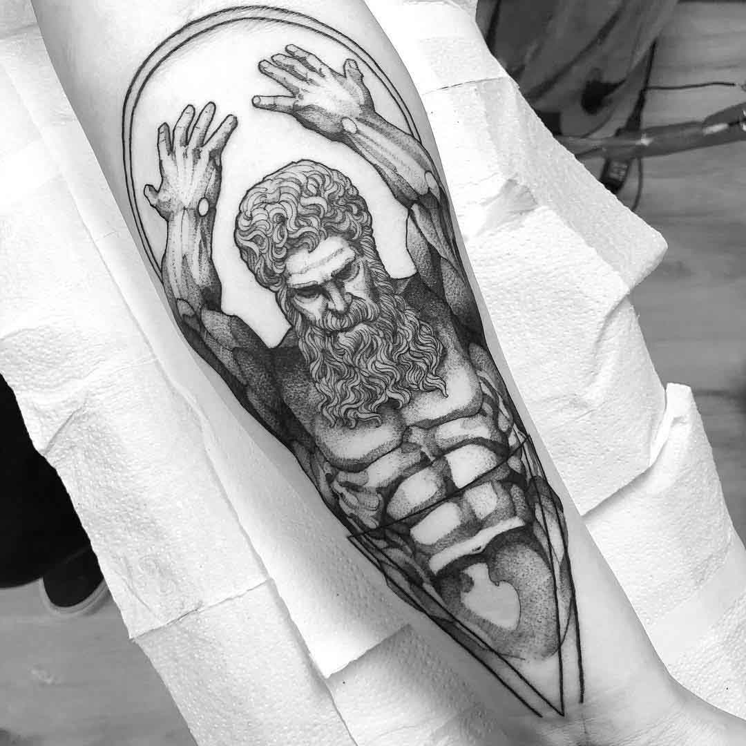atlas tattoo on arm
