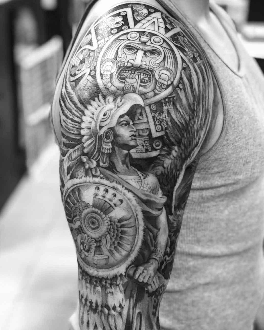 shoulder tattoo aztec