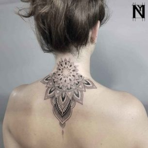 Back Neck Mandala Dotwork Tattoo