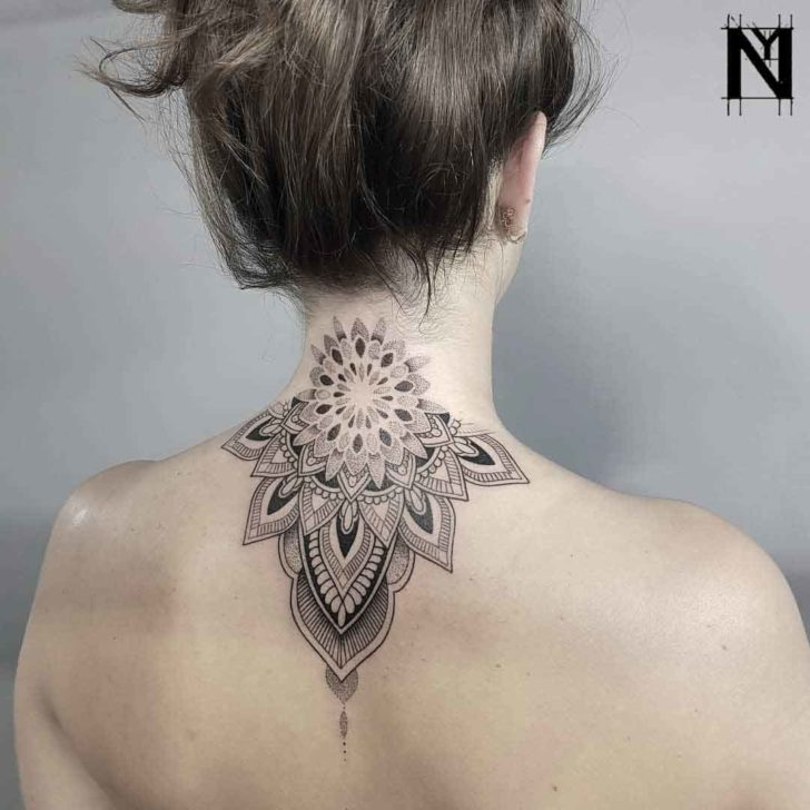 nape tattoo mandala dotwork style