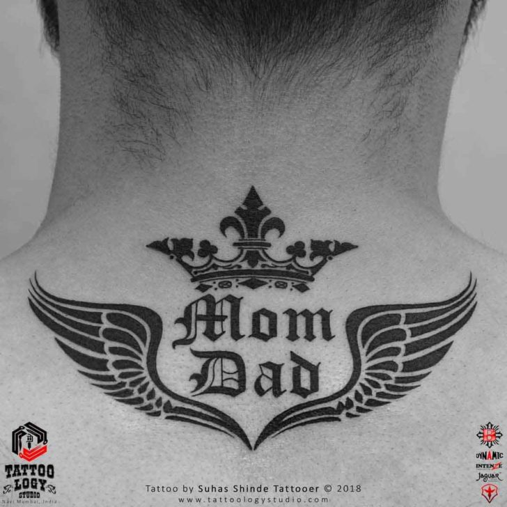 Back of Neck Tattoo Mom and Dad