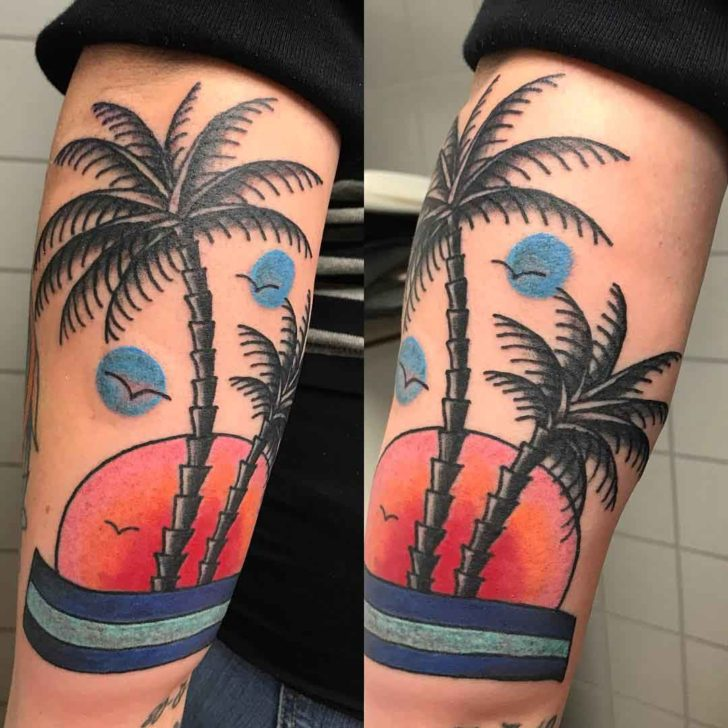 Big Arm Palm Tree Tattoo