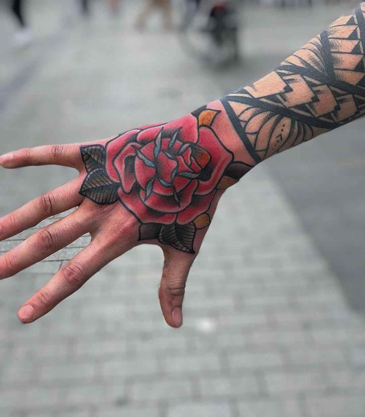 Big Old School Rose Hand Tattoo