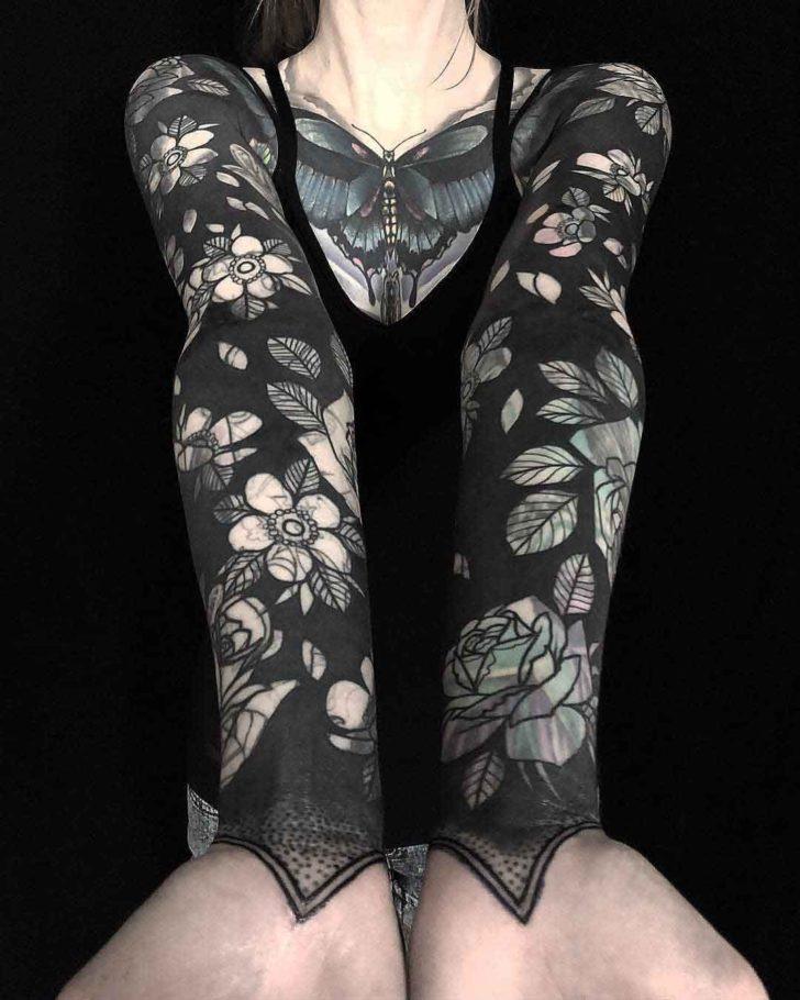 tattoo sleeve flowers blackwork