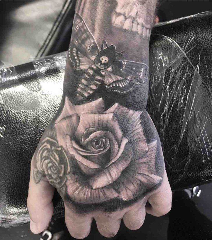 Black and Grey Rose Hand Tattoo