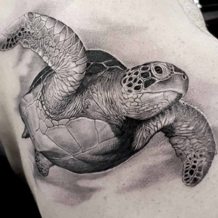 Black and Grey Sea Turtle Tattoo