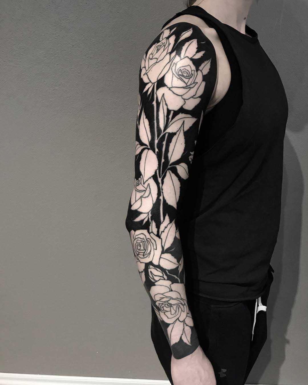tattoo sleeve blackwork style and roses