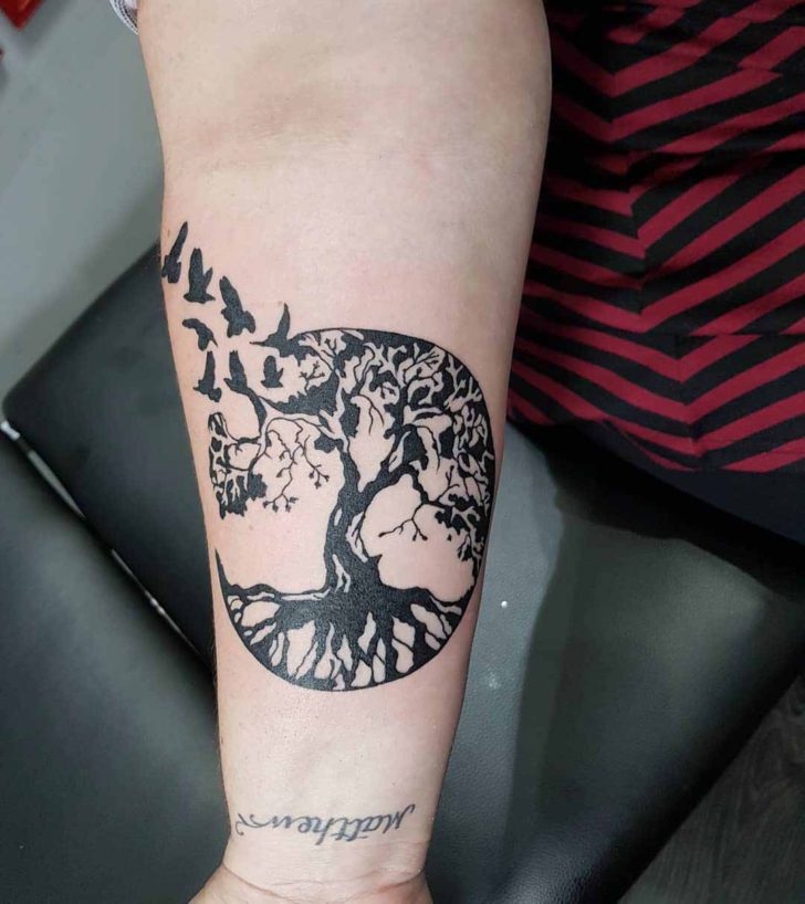 Blackwork Tree of Life Tattoo