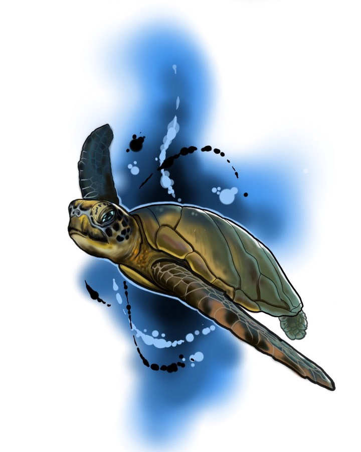 Blue Sea Turtle Tattoo Design