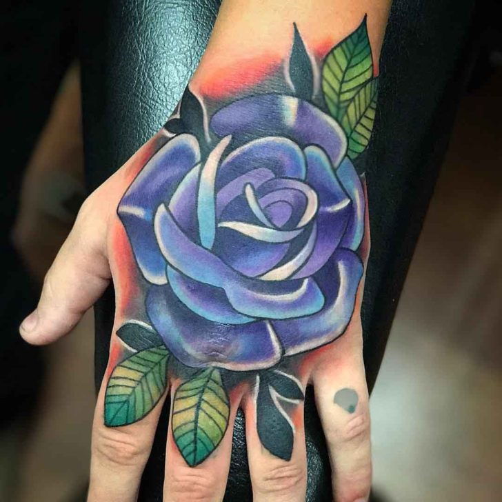 Bright Blue Rose Tattoo