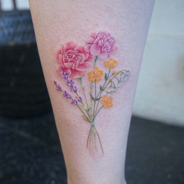 Carnation Bouquet Tattoo
