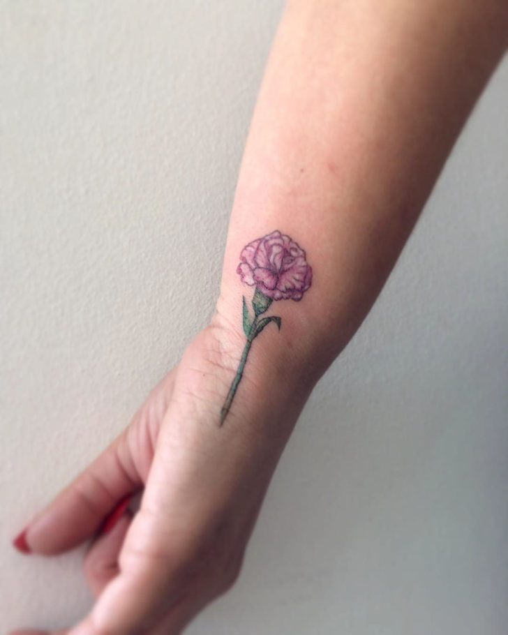 Carnation Flower Tattoo on Wrist