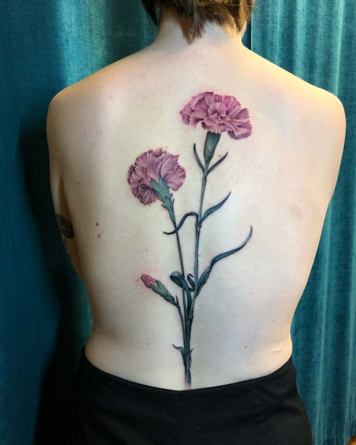 Carnation Flowers Tattoo on Back