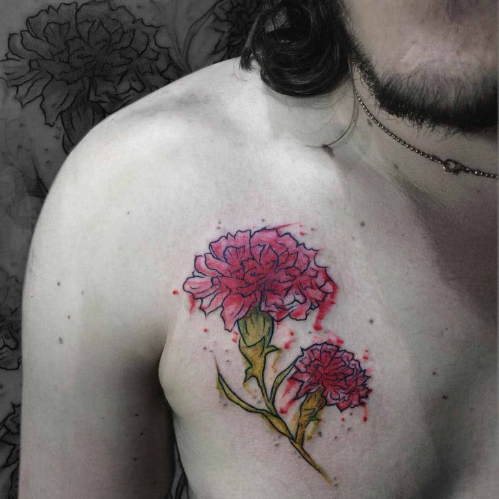 Chest Tattoo Carnation Flower