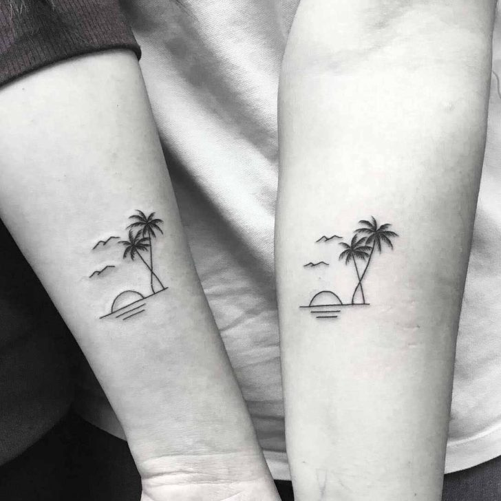 Couple Palm Tree Tattoos for Sisters