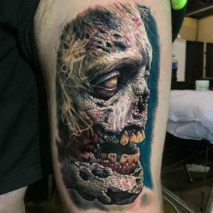 realistic zombie tattoo