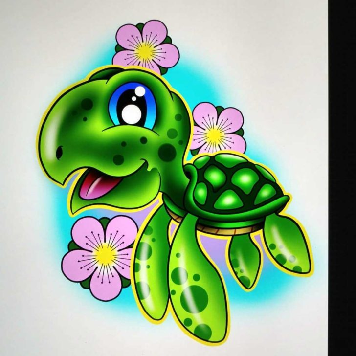 Cute Sea Turtle Tattoo Design