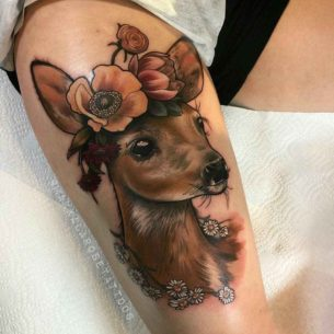 Dear Tattoo with Flowers