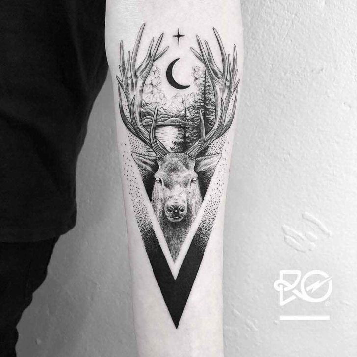 dotwork deer tattoo