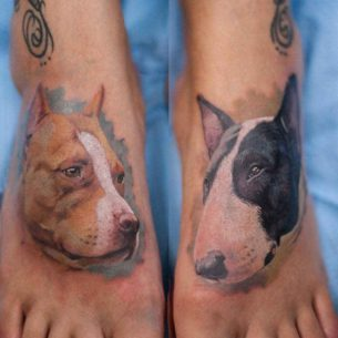 Dogs Tattoos on Feet