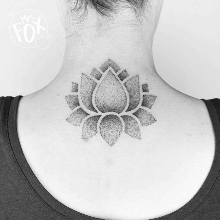 Dotwork Back of Neck Tattoo