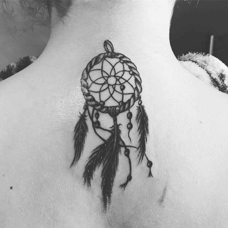 Dream Catcher Back of Neck Tattoo