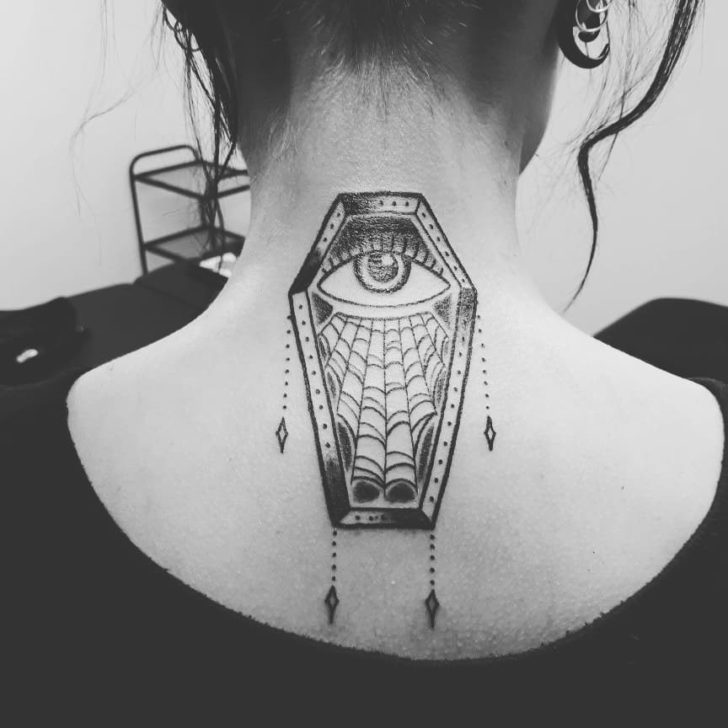 Eye Coffin Back of Neck Tattoo