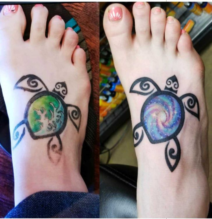 Fix Up Sea Turtle Tattoo on Foot